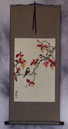 Birds on Autumn Branch Wall Scroll
