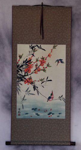 Bird and Flower Wall Scroll
