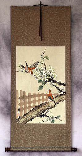 Bird & Flower Fence Wall Scroll