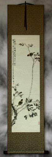 Birds and Persimmon Branch Wall Scroll
