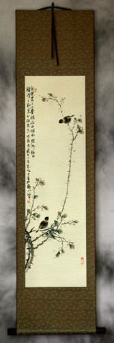 Birds and Persimmon Branch<br>Asian Wall Scroll