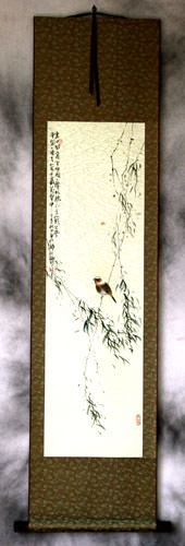 Bird Song in the Mountains<br>Bird and Flower Wall Scroll