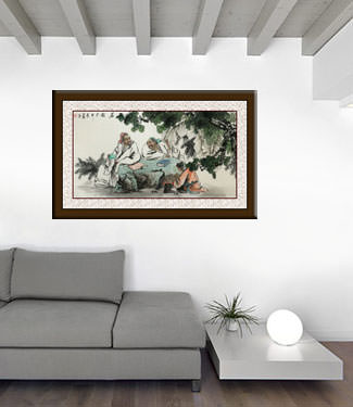 Men Writing Poetry and Philosophy Large Painting living room view