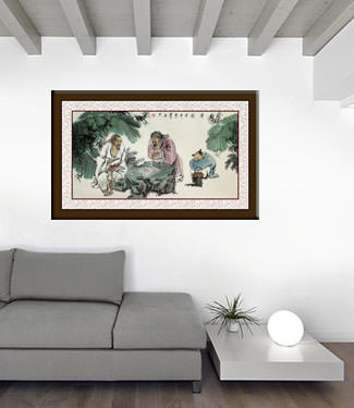 Big Men Playing Chess (Weiqi) Painting living room view