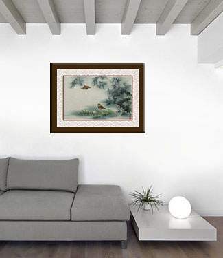 Traditional Chinese Birds and Bamboo Painting living room view