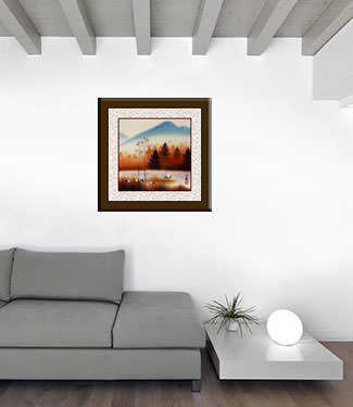 Crisp Autumn Cranes Landscape Painting living room view