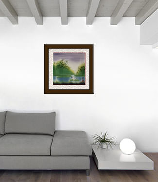 Colorful Asian Cranes Painting living room view