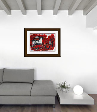 Drying Peppers - Chinese Folk Art Painting living room view