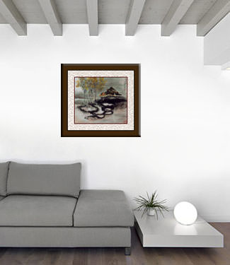 Abstract Chinese House - Landscape Painting living room view