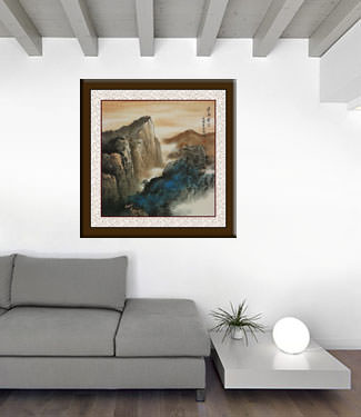 Mountain Landscape Painting living room view