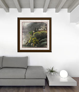 Chinese Village Landscape Painting living room view
