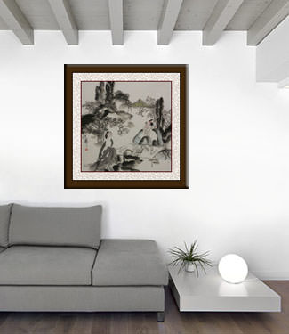 Jiang Feng's Drinking Tea with a Beauty - Abstract Chinese Art living room view