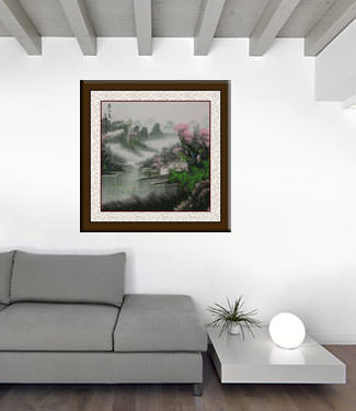 Colorful Landscape Painting living room view