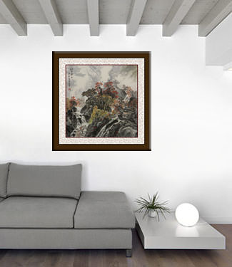Red Leaves Autumn Mountain Landscape Painting living room view