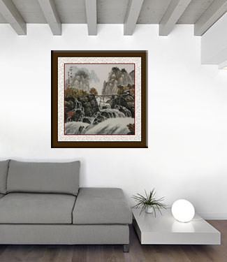 Charm of the Mountain River and Wind - Landscape Painting living room view