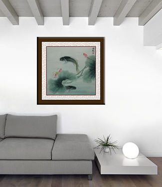 Big Fish and Flower Painting living room view