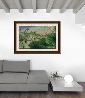 Little Birds and Beautiful Lotus Painting living room view