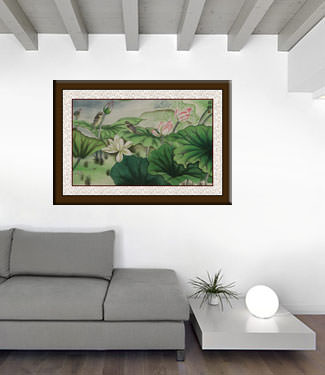 Small Birds and Beautiful Lotus Painting living room view