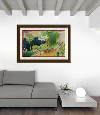 Little Bird in the Lotus Beautiful Chinese Watercolor Painting living room view