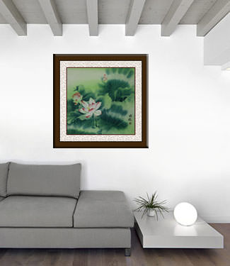 Chinese Lotus Flower Painting living room view