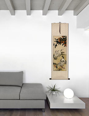 Chinese Kittens - Oriental Art Scroll living room view