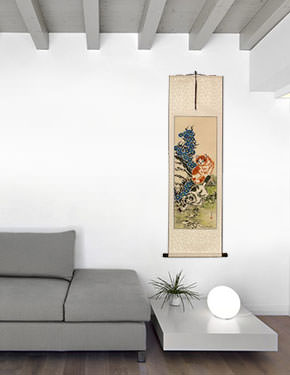 Cats / Kittens - Chinese Scroll living room view
