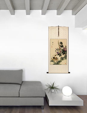 Asian Kittens - Chinese Wall Scroll living room view