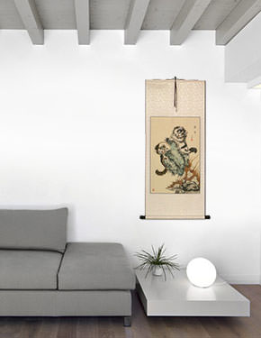 Asian Kittens - Chinese Cat Scroll living room view