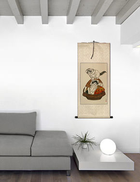 Chinese Kittens in Basket Wall Scroll living room view