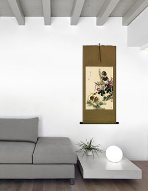Fresh and New Kittens Wall Scroll living room view