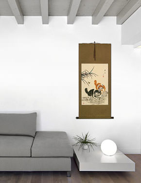 Playful Chinese Kittens Wall Scroll living room view