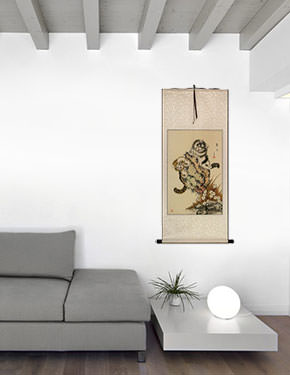 Cat Fun Wall Scroll living room view