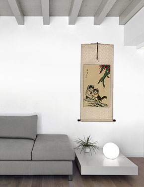 Asian Kittens - Chinese Art Scroll living room view