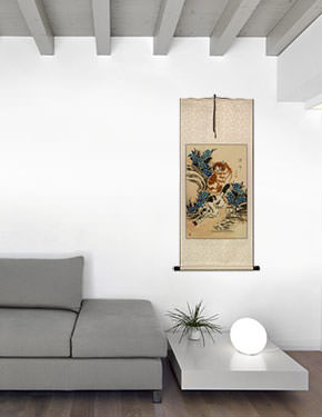 New and Fresh Kittens Wall Scroll living room view
