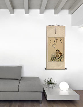 Asian Kittens - Oriental Wall Scroll living room view