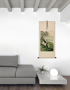 Chinese Sichuan Pandas Wall Scroll living room view