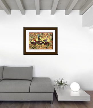 Picking Fruit - Chinese Folk Art Painting living room view