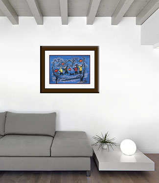 Paper Lanterns Greet the Springtime - Chinese Folk Art Painting living room view