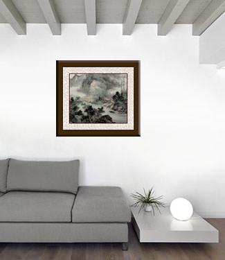 Blemished Chinese Landscape Painting living room view