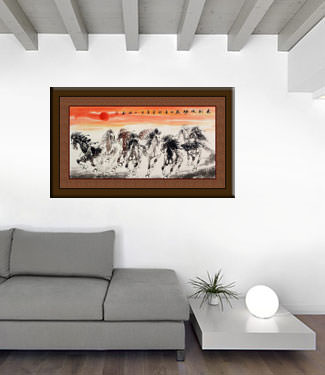 Large Horses of China Painting living room view