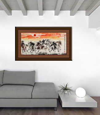 Big Oriental Horse Painting living room view