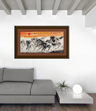 Huge Asian Horse Painting living room view