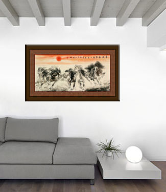 Big Asian Horse Painting living room view