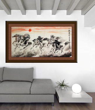 Large Eight Chinese Horse Painting living room view
