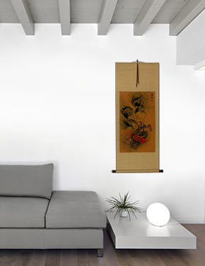 Hidden Chinese Dragon - Asian Wall Scroll living room view