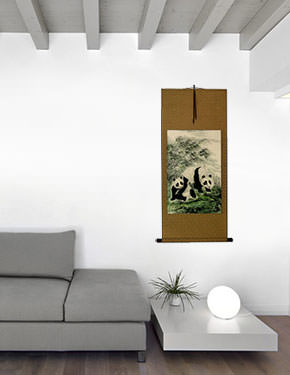 Fun-Loving Chinese Pandas Wall Scroll living room view