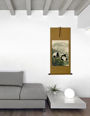 Pandas of China Wall Scroll living room view
