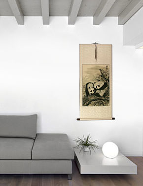 Chinese Pandas Wall Scroll living room view