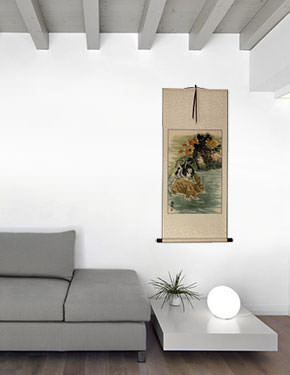 Rabbits - Chinese Scroll living room view