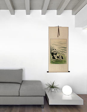 Chinese Pandas at Play Wall Scroll living room view